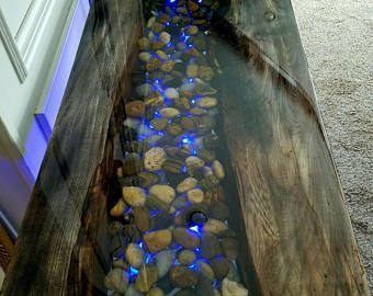 Epoxy World River Table with Rocks